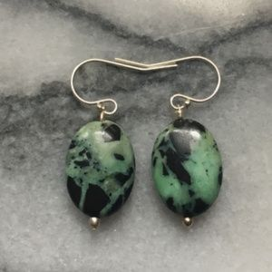 Vintage Jewelry - Sterling and chrysoprase stone? earrings